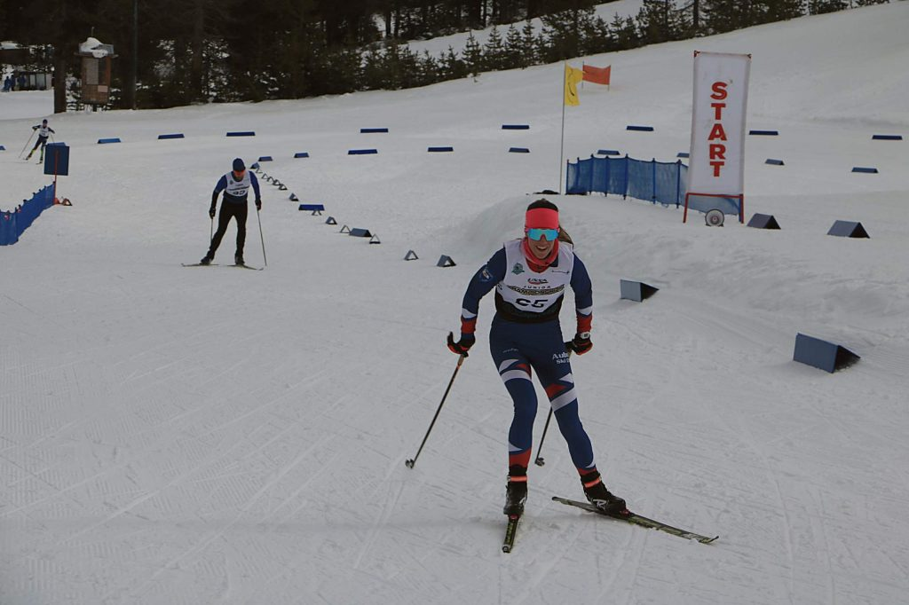 Auburn Sky Club coach Kate Mulcahy skis to a first-place finish in the 10-kilometer distance at Auburn Ski Club.