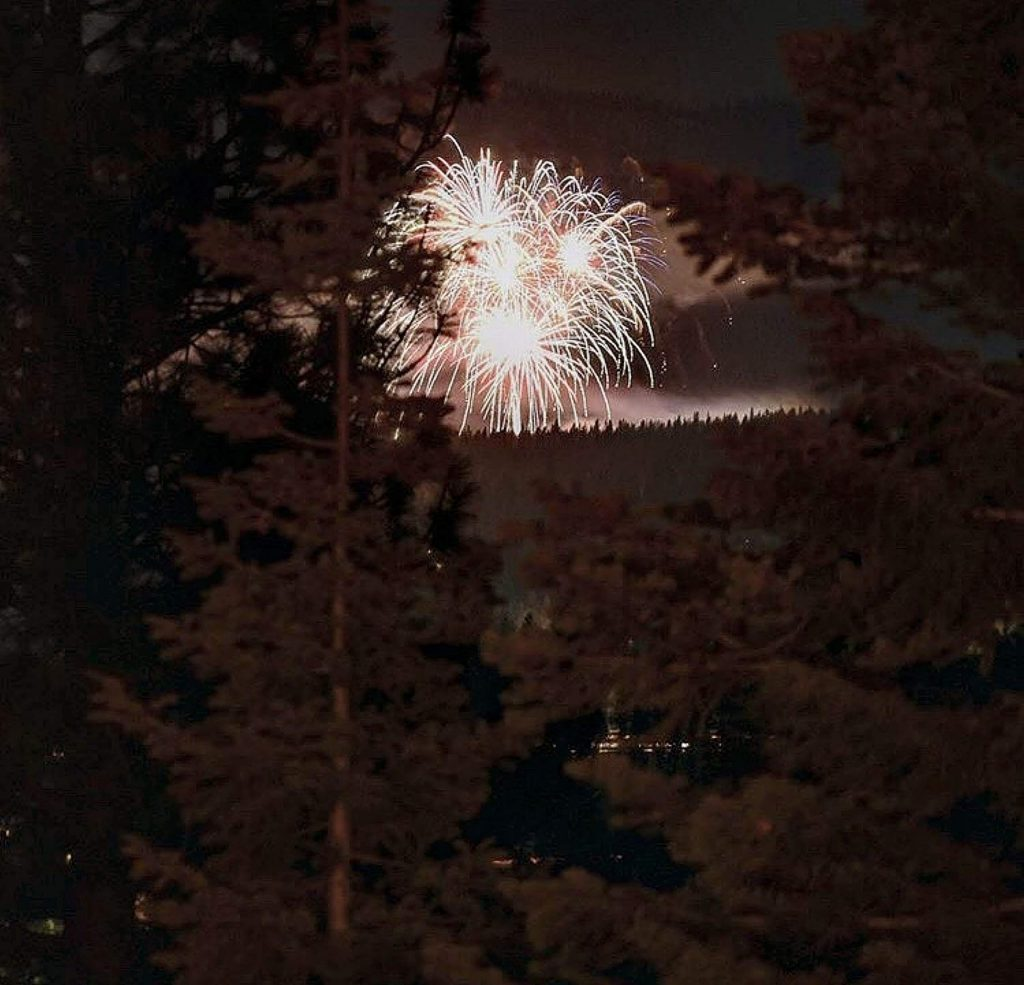A zoomed in shot from Prosser of Northstar's New Year Fireworks.
