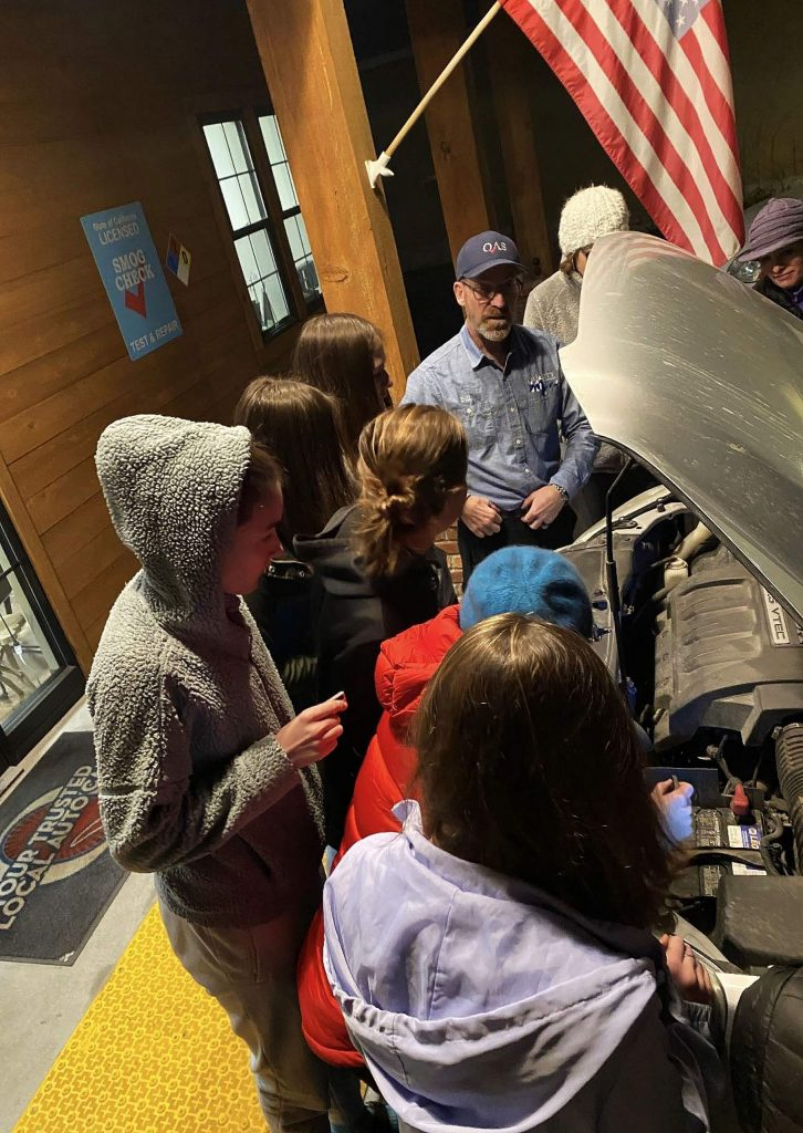 Truckee Girl Scout Troop #798 earn their Automotive Badge at QAS with owner Bill Greeno.