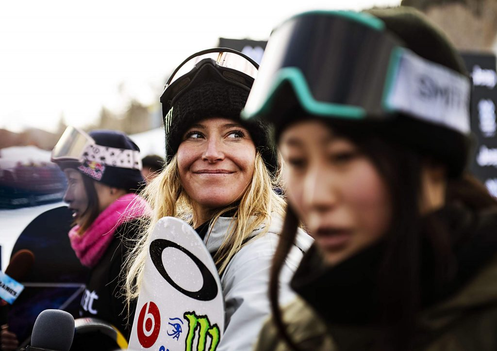 X Games women's snowboard slopestyle gold medalist Jamie Anderson, center, smiles while Miyabi Onitsuka, left, and silver medalist Kokomo Murase give an interview on Saturday, Jan. 25, 2020. (Kelsey Brunner/The Aspen Times)