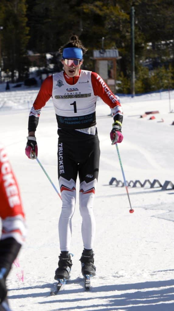 Truckee's Steffen Cuneo crosses the finish line in third place.
