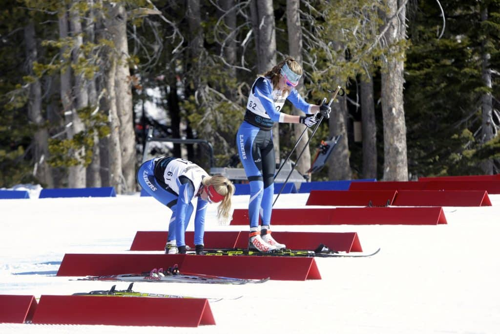 North Tahoe teammates Kili Lehmkuhl (left) and Alani Powell hit the transition area in first and second, respectively.