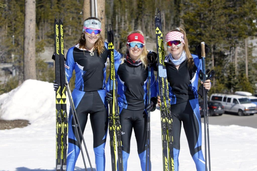 North Tahoe skiers swept the podium at the CNISSF state championships. Kili Lehmkuhl (center) took first. Alani Powell (left) was second, and Mera Schoonmaker took third.