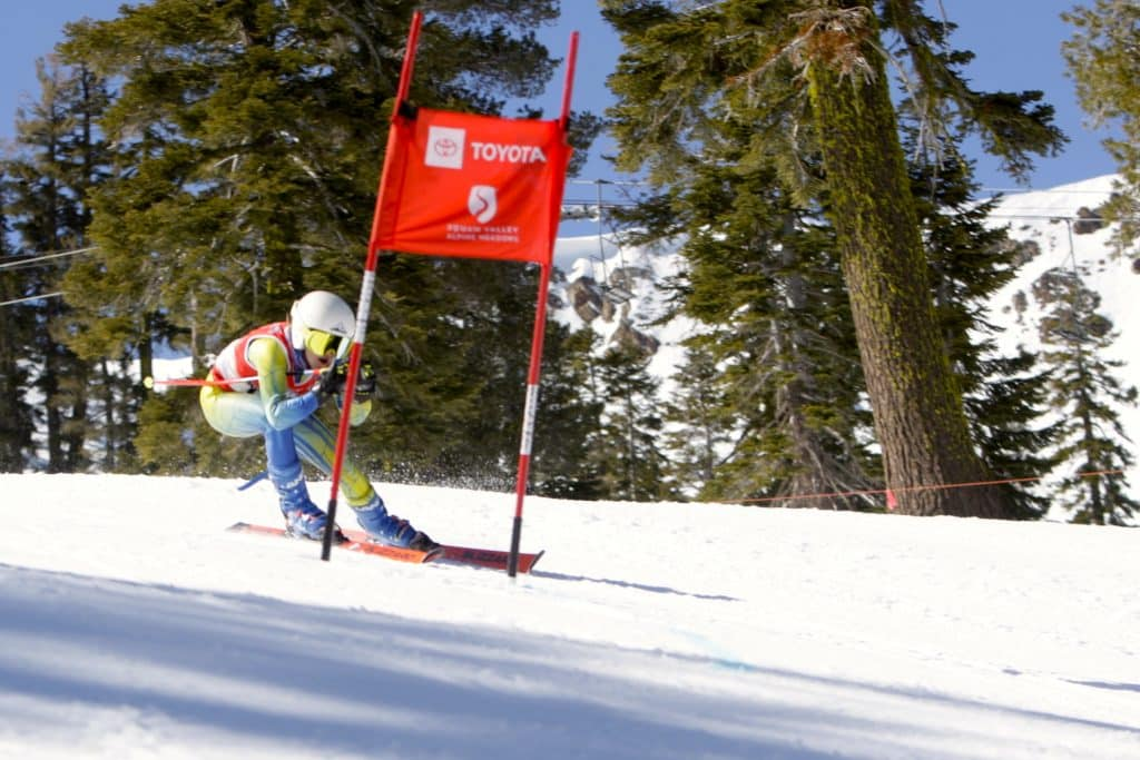 Truckee's Amber Hansford skis to a giant slalom state championship on Wednesday at Alpine Meadows.