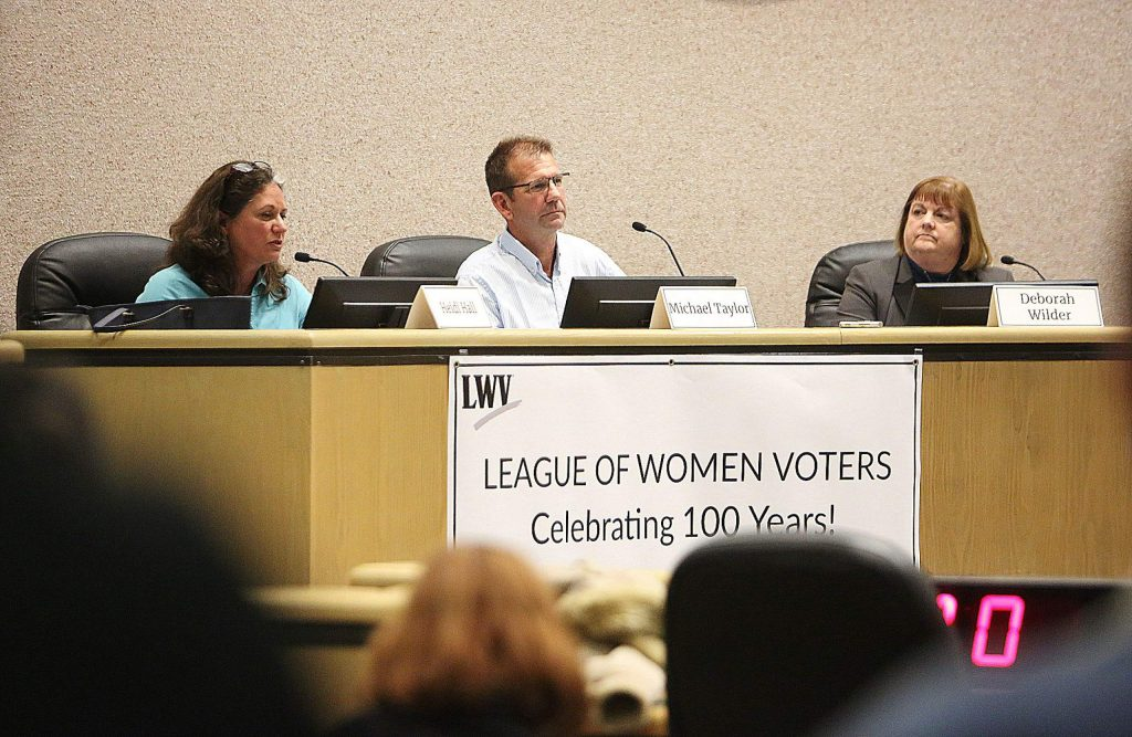 From left, Supervisor Heidi Hall, Michael Taylor and Deborah Wilder are running for the District 1 seat on the Nevada County Board of Supervisors. They participated last month in a forum hosted by the League of Women Voters of Western Nevada County.