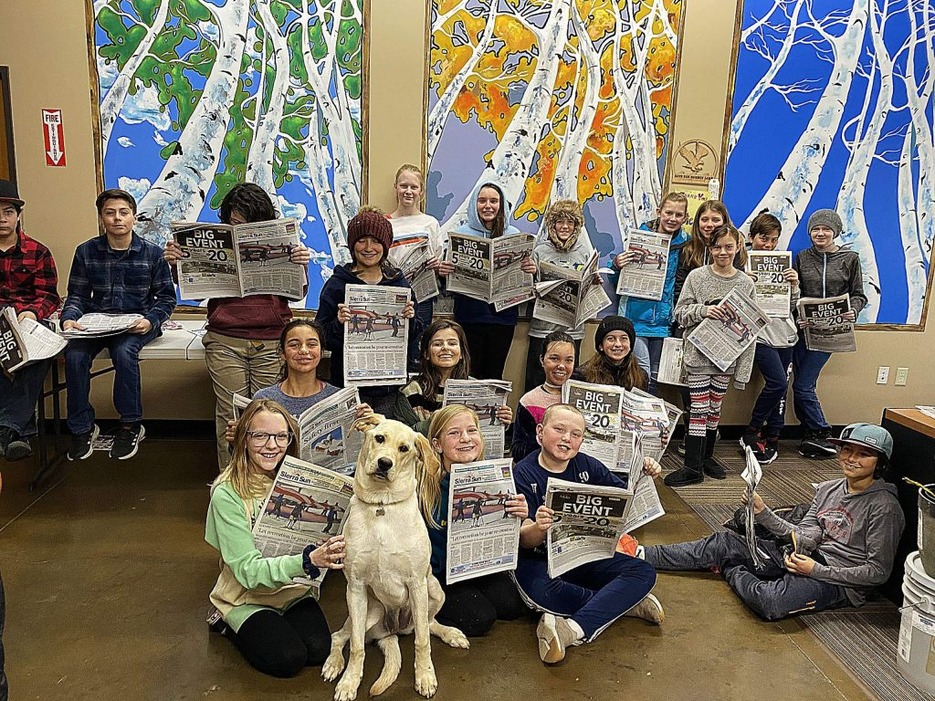 Daisy, the unofficial mascot of the Sierra Sun, had a great time with some new friends during a Forest Charter School field trip to the Sun. Thanks to Mr. Keim and company for making the time, and the trip.