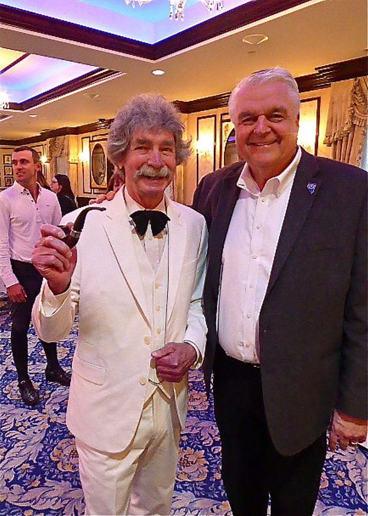 "McAvoy Layne aka ""Ghost of Twain"" hobnobs with Nevada Gov. Steve Sisolak at what Layne called a ""regular whoopjamboreehoo"" at the governor's mansion."