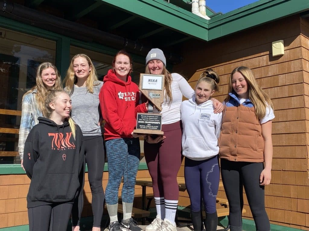 The Truckee girls' alpine team shared the giant slalom state championship with North Tahoe.