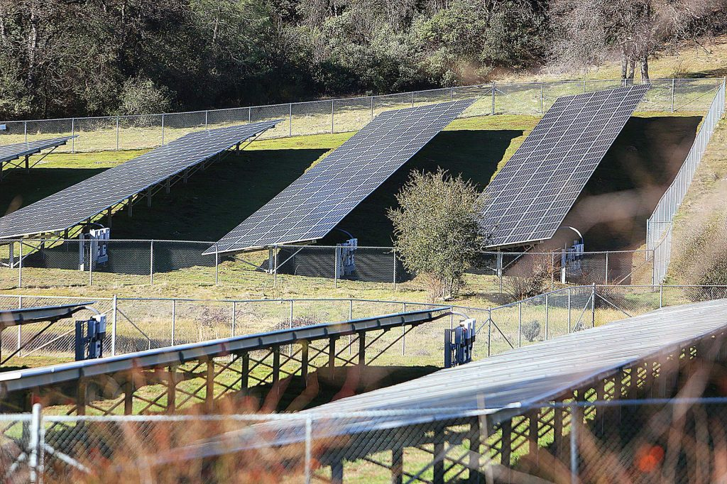 A county-owned solar panel array along Highway 49 near the Willo generates electricity from the sun's rays. Solar experts have discussed how they believe Nevada County should move forward with its energy system.