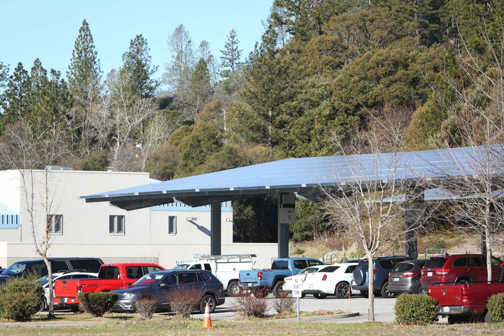 County-owned solar panel arrays at the Eric Rood Administrative Center in Nevada City provide shade and electricity when the sun shines.