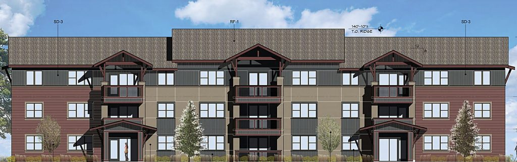 Two of the buildings in the project will stand three stories tall and house 30 units each.