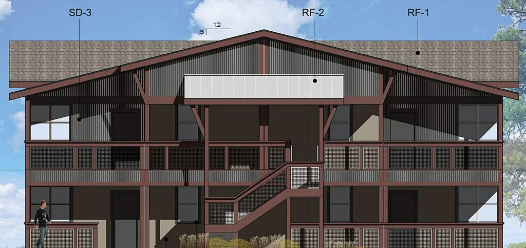 Two smaller buildings will stand two stories tall and house four units each.