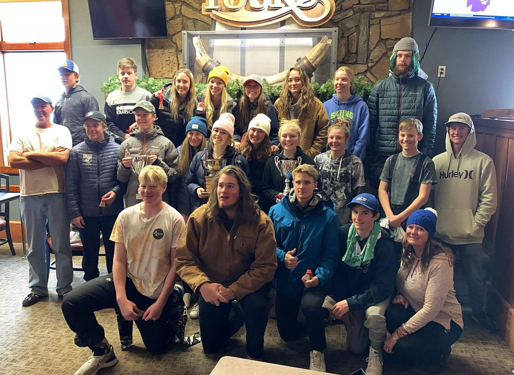 Skiers from the Tahoe Basin Ski League posed during the Western US High School Championships last weekend at Mammoth Mountain.