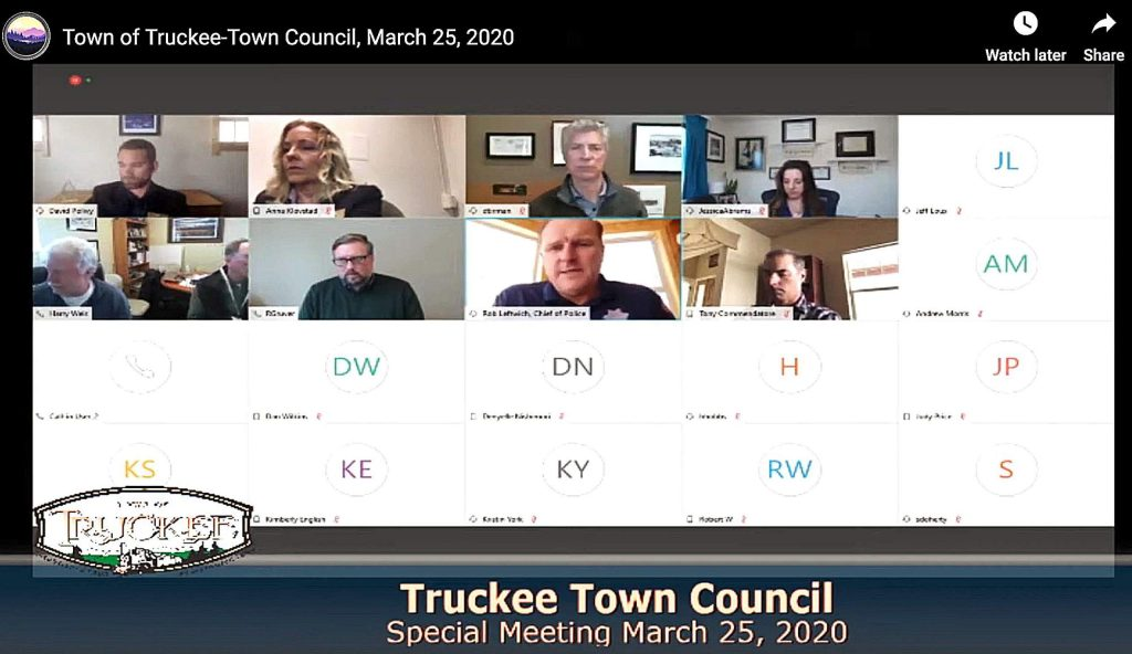 The Truckee Town Council met in its first virtual meeting Wednesday, tending to the community's business in a digital setting while observing the governor's shelter-in-place order.