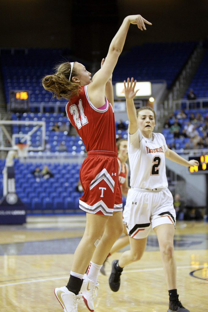 Junior captain Lauren Tanner attempts a shot against Fernley in the state championship game.