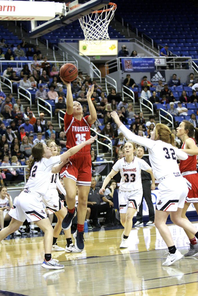Truckee junior Annika Thayer goes up for a shot against Fernley in the state championship game.