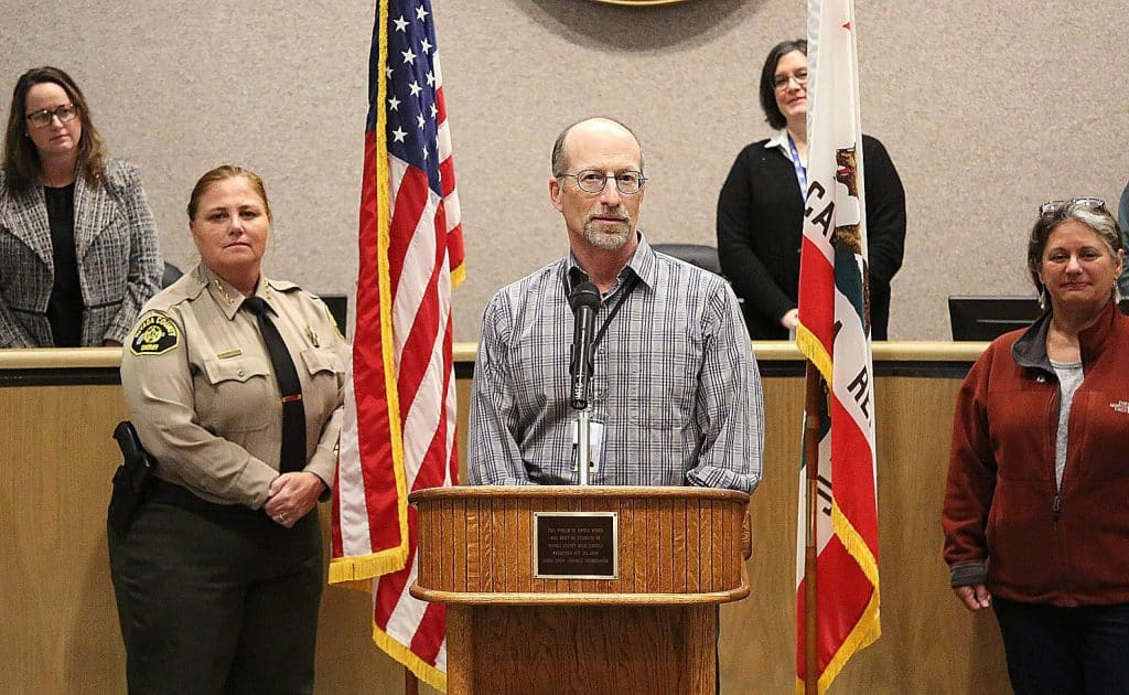 Nevada County Public Health Officer Dr. Ken Cutler discusses the county's first confirmed case of COVID-19 during a press conference Monday at the Eric Rood Administrative Center.