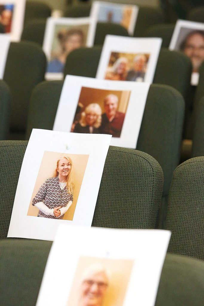 """It makes a huge difference,"" Rev. Jerry Farrell said about the photos of his congregation in the seats. ""They're sending us their portraits. I love coming in here now."""