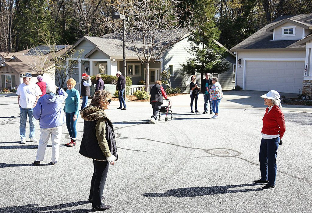 Sparrow Circle residents have been making a morning tradition of greeting each other from a distance during their walks and checking on those at their homes when possible.