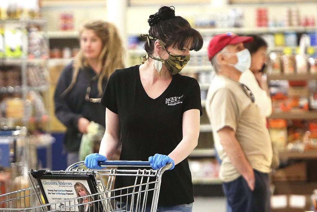 The majority of shoppers observed this week at SPD in Nevada City wore a face covering over the mouth and nose. All employees at the store now wear masks.