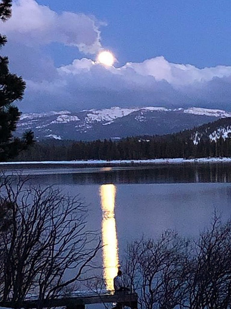 Super Full Moon on April 7, 2020 at Donner Lake.