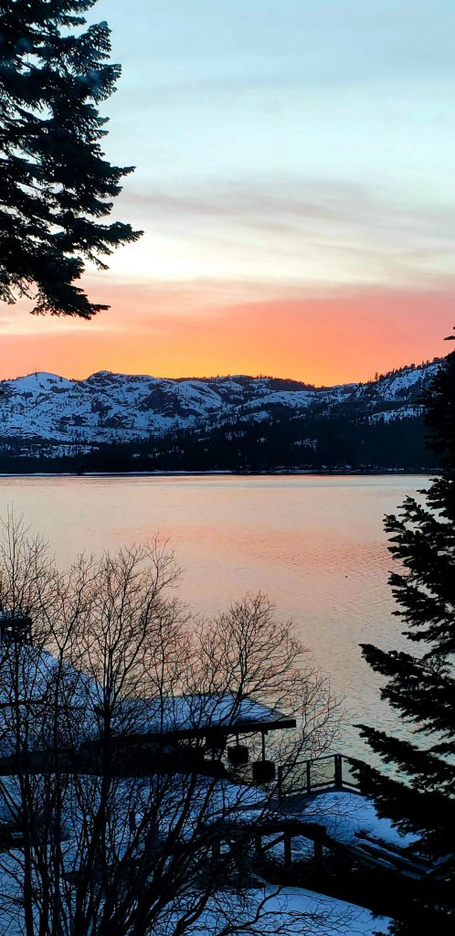 Three April sunsets taken from the same widow on Donner Lake.