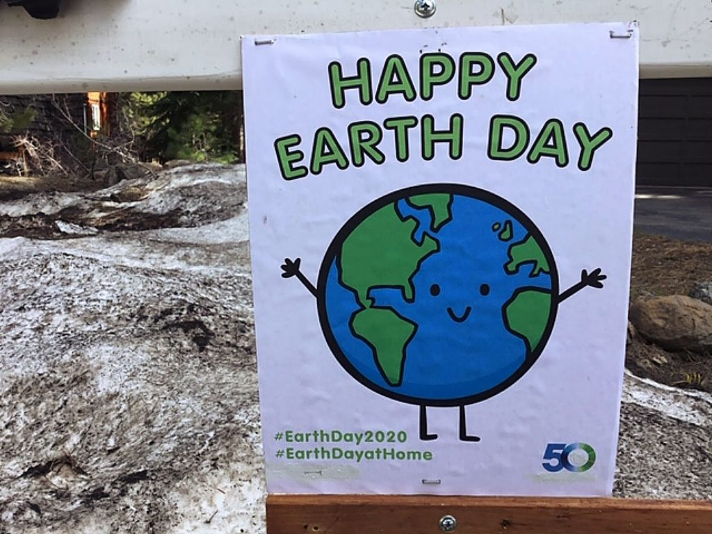 More entertainment for the neighborhood walkers and bike riders. Here's what we did for Earth Day. Also an Easter egg display!