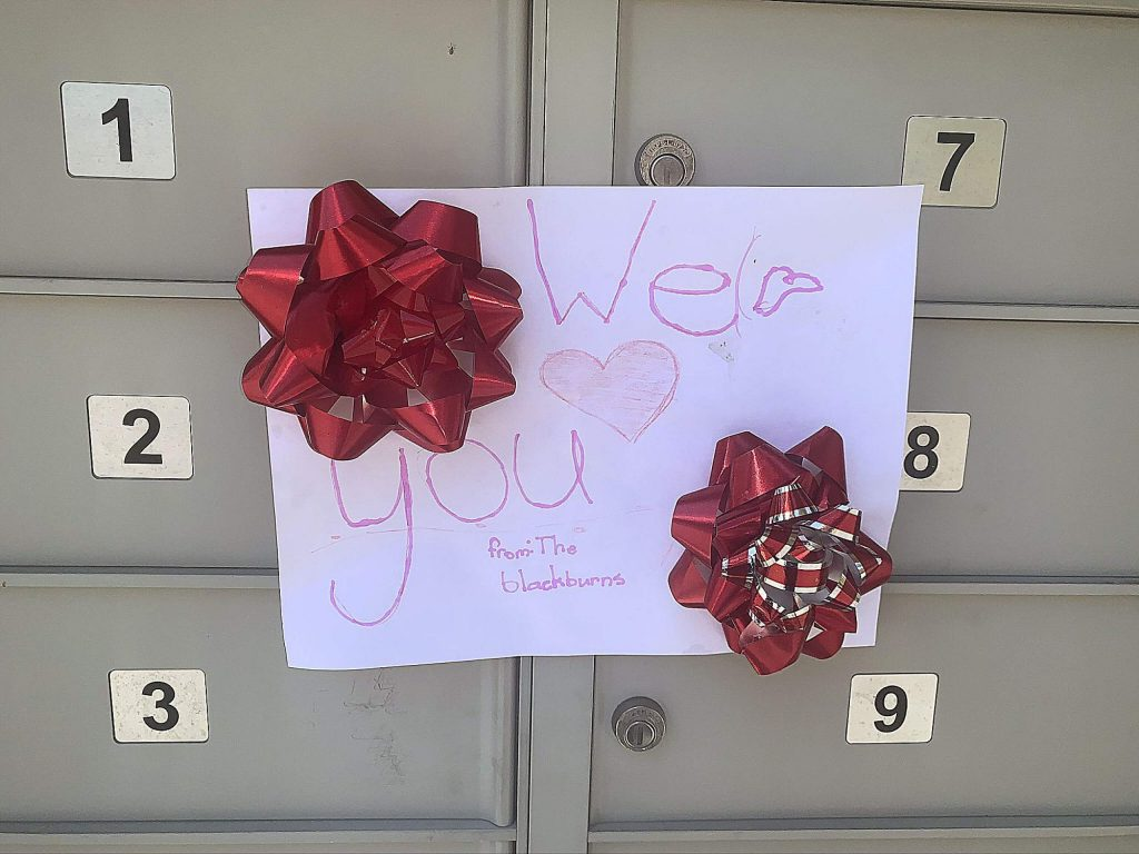 Last week this sweet note was posted on our cluster mailbox. I think it's worthy of passing along this kindness from young kids to our post office delivery gal. Keep on quarantining!