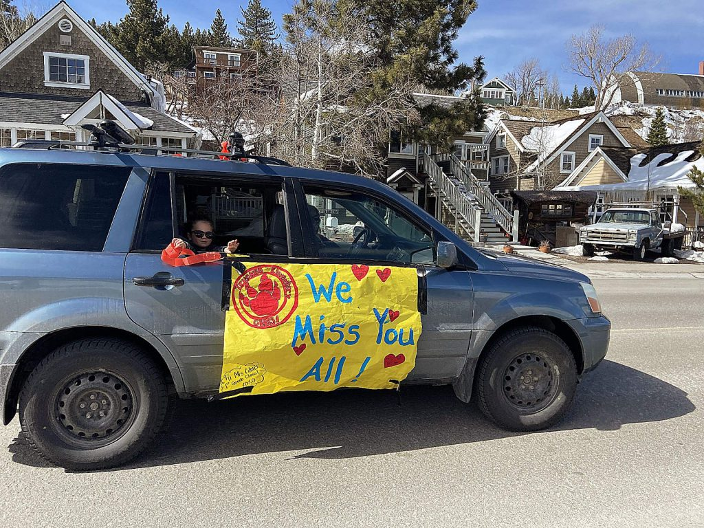 Truckee Elementary School's staff performed a Flash Mob Car Parade on March 27, coming through town as a way to celebrate the completion of a whole week of distance learning.