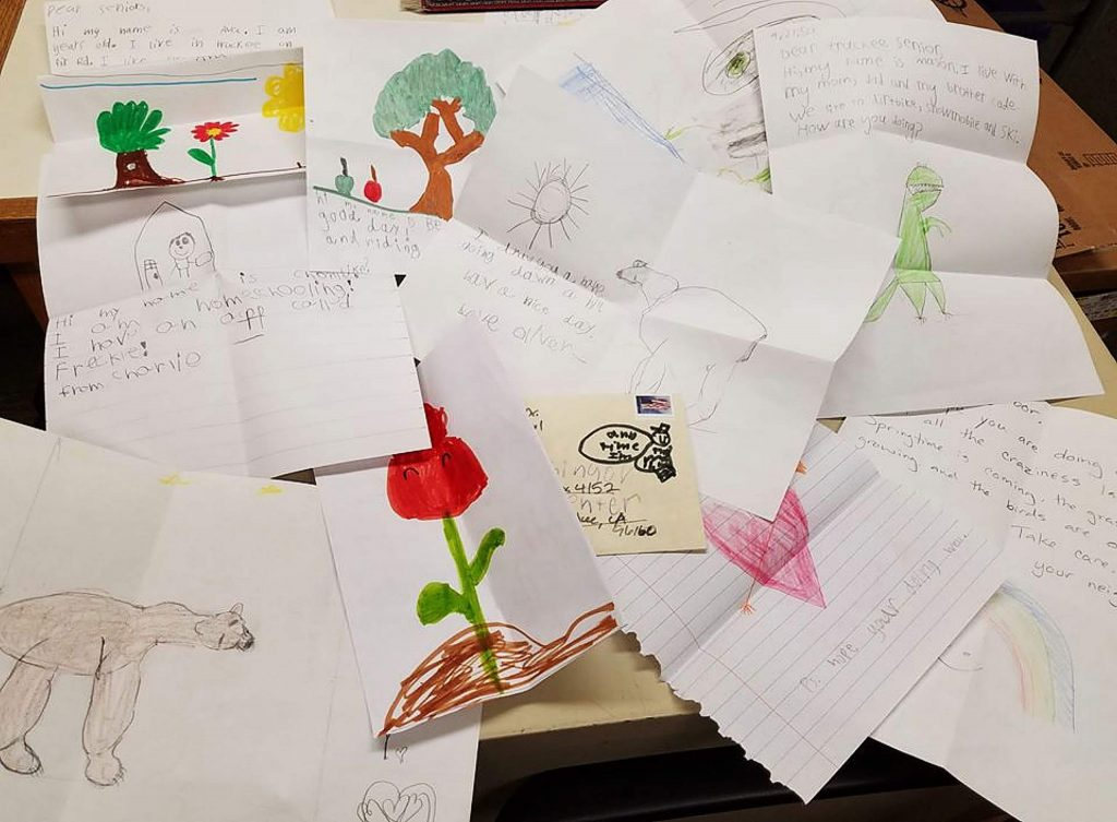 "The nurses at Tahoe Forest Hospital have put together a bunch of notes for the seniors and kids who are out of school right now are contributing too. Another 150 notes went out with the Wednesday delivery service as well as other types of ""Special Touches"" to keep people staying positive."