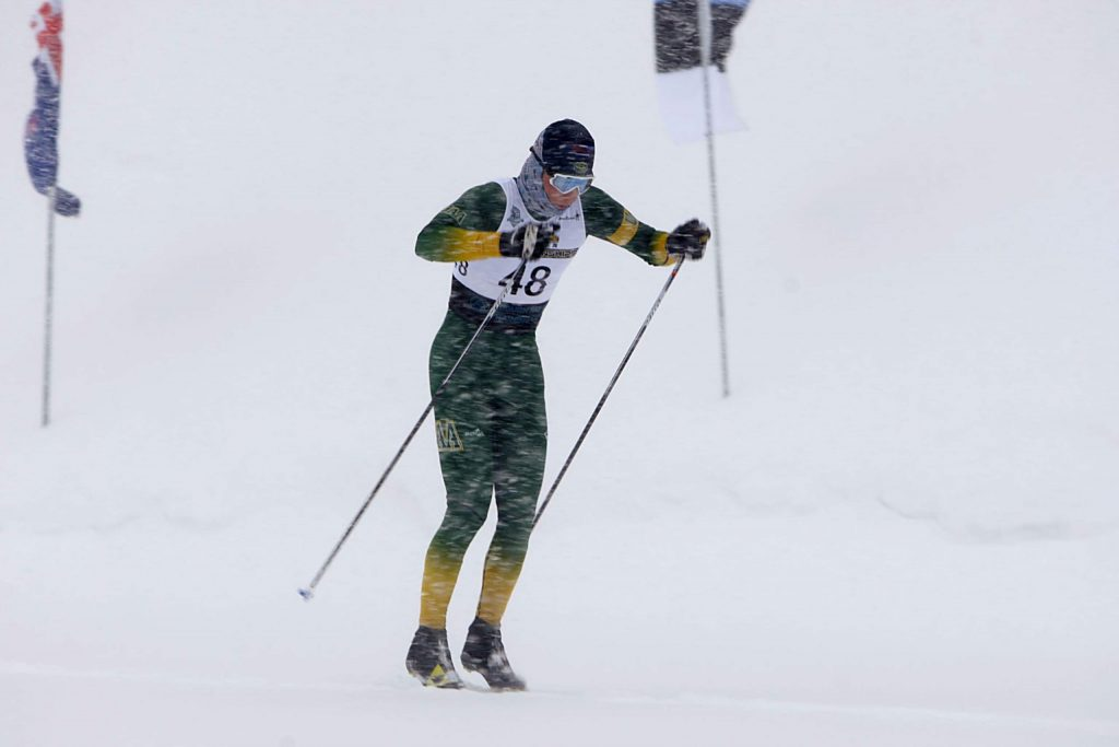 JC Schoonmaker races to a second-place finish last December at the Snowshoe Thompson Classic.