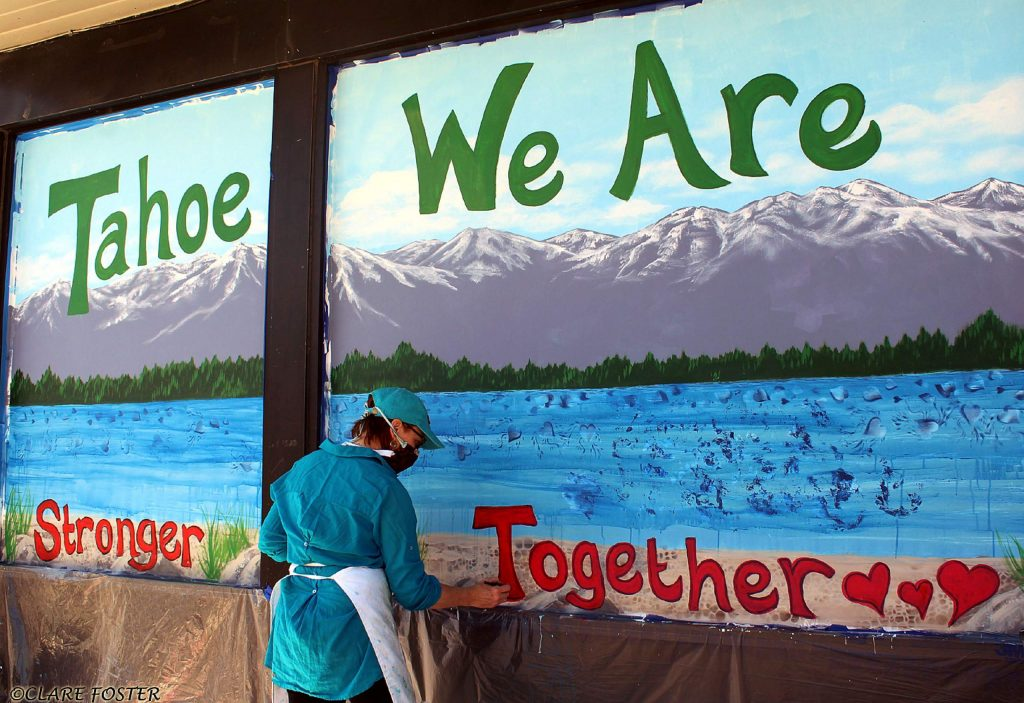 The Stronger Together message continues across storefronts in North Lake Tahoe! Painted by volunteer artist and local painter, Sara Smith. A huge thank to the property owner, Walt Kass, the Tahoe Emergency Fund from Tahoe Luxury Properties for supplying paint and restaurant gift cards for the artists, the TCDA and, of course, the artists for making this happen!