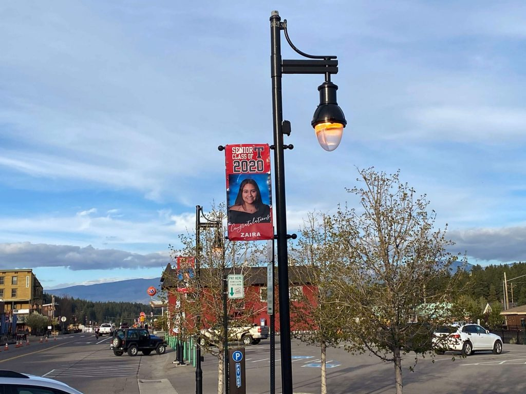 More than 170 banners bearing the names and photos of the Class of 2020 have been installed throughout downtown Truckee.