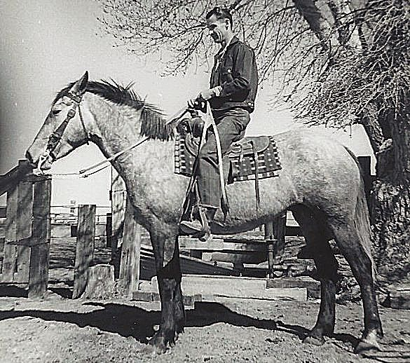 Doyle McGwinn on his horse, Susie Q.