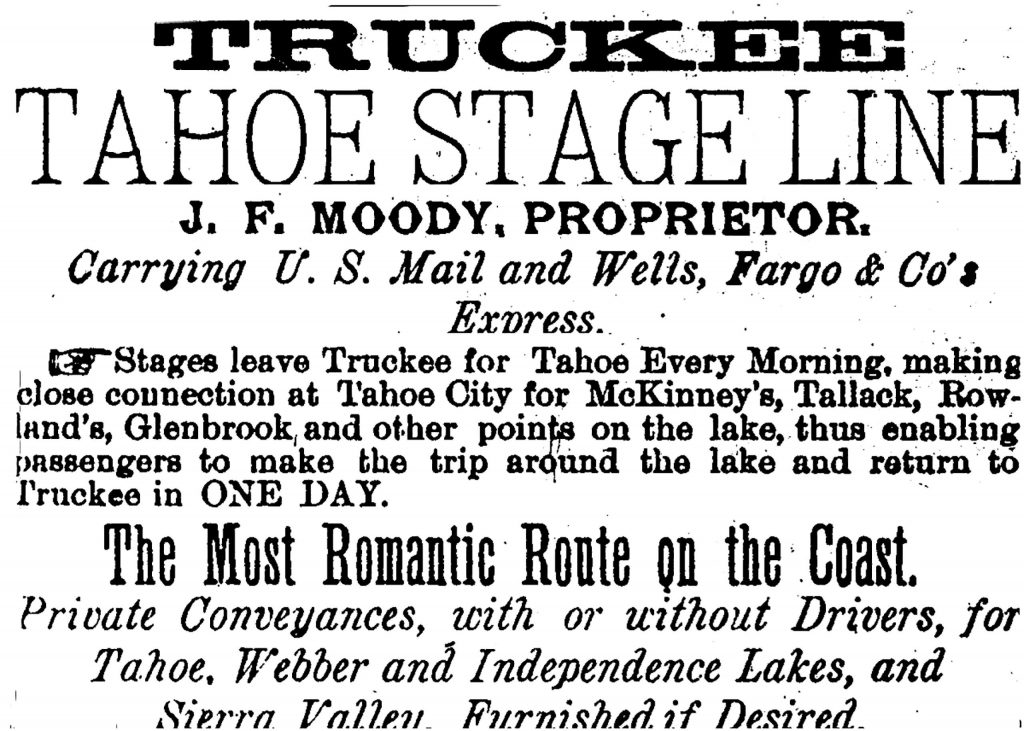 Truckee Tahoe Stage Line advertisement.