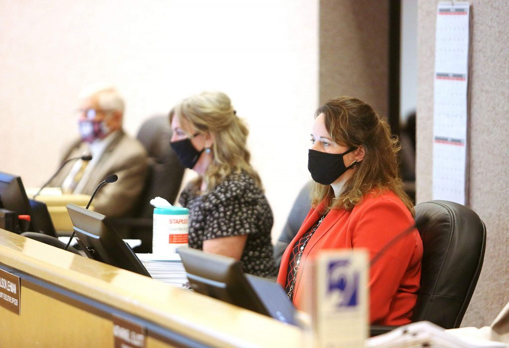 Nevada County CEO Alison Lehman and other members of county staff all wore cloth face masks during Tuesday's Board of Supervisors meeting.