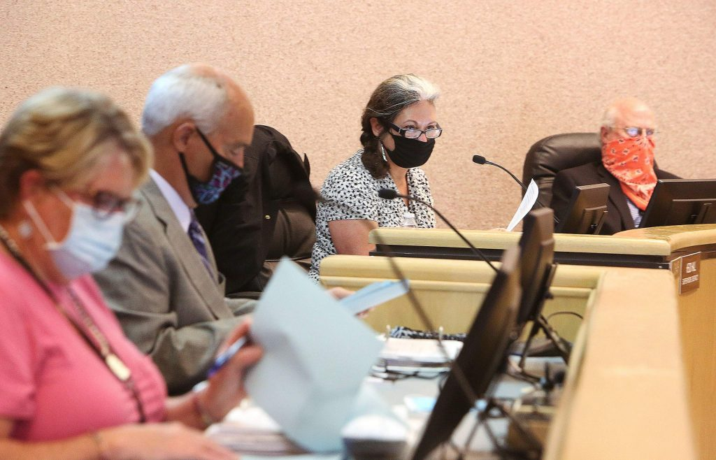 Nevada County Board of Supervisors chairwoman Heidi Hall had to keep unruly public comment period speakers in order during Tuesday's meeting.