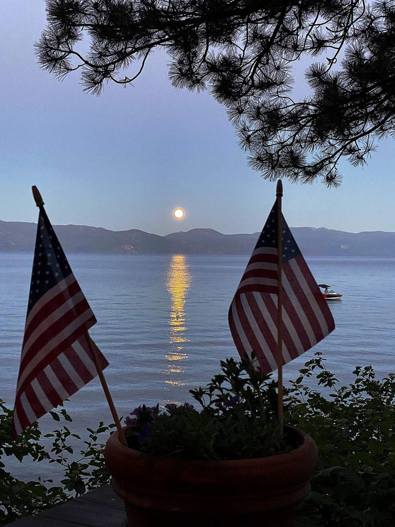 Moon rising over Lake Tahoe on July 4th.