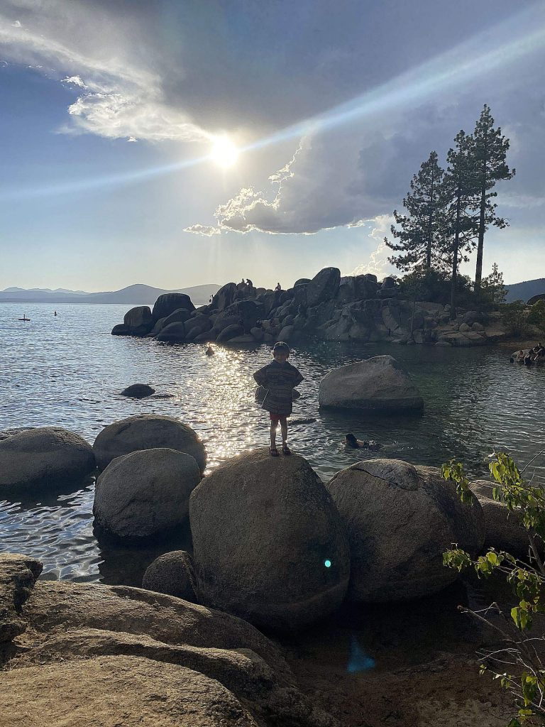 Enjoying the sunset on Lake Tahoe.