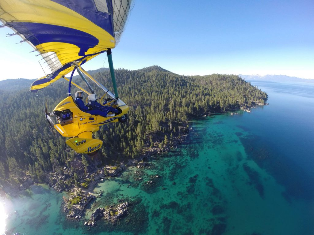 A two-person powered hang glider is undoubtedly a thrilling way to view Tahoe from above.
