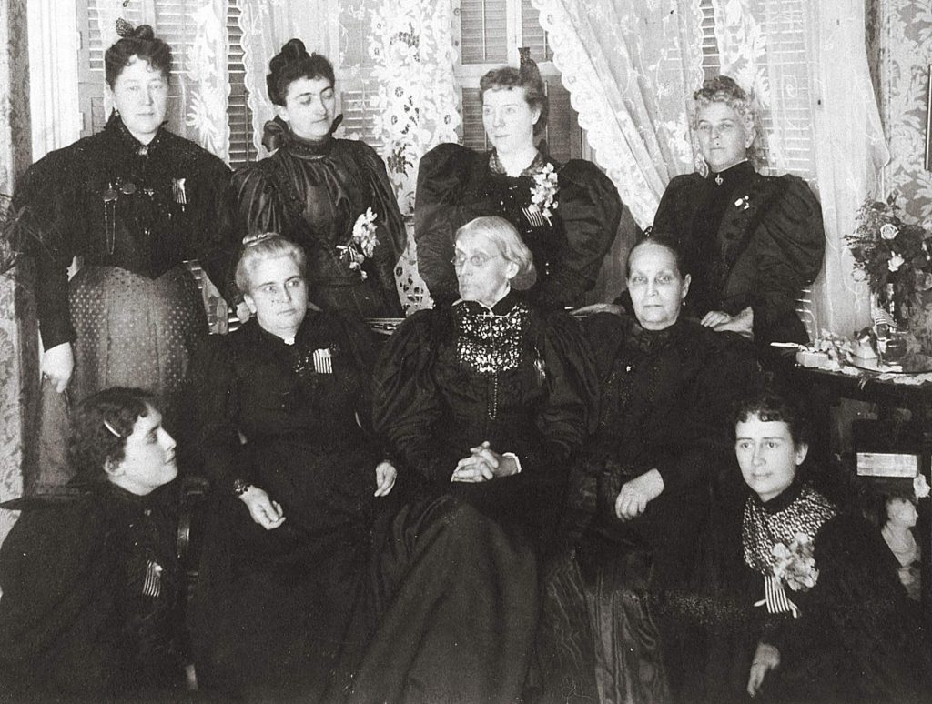 Women convened an 1896 meeting of suffragist leaders in Nevada County that includes (from left, standing) Ida Husted Harper, Selena Solomons, Carrie Chapman Catt, Anne Bidwell; (from left, seated) Lucy Anthony, Dr. Anna H. Shaw, Susan B. Anthony, Ellen Clark Sargent, and Mary Hay. In 1869, Clark Sargent started the Nevada County Woman's Suffrage Association.