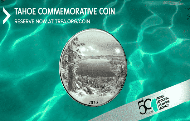 The backside of the commemorative Lake Tahoe coin.