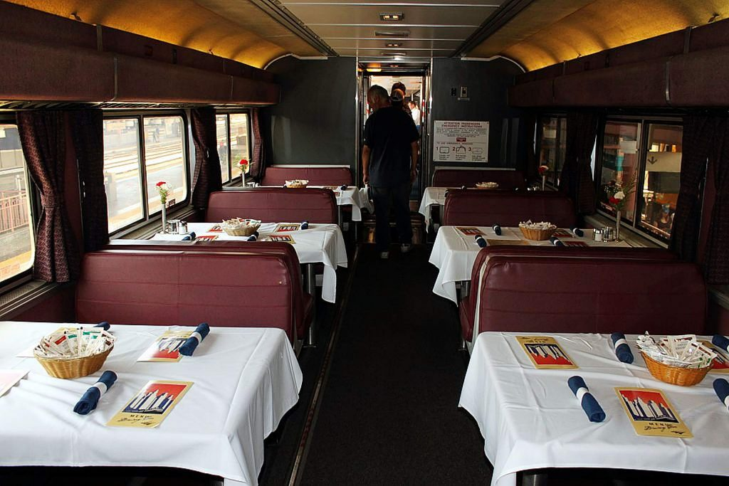 Today's trains offer more amenities such as Amtrak's dining car service.