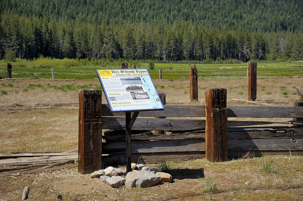 With the completion of the railroad to Truckee in 1868, the road fell into disuse except as a stock route. You can still see some of the sheep pens near the road and a sheepherders hut.