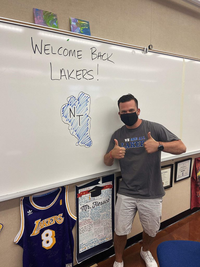 Mr. Jason Flescock, chemistry teacher at North Tahoe High, welcomes back the NTHS Lakers!