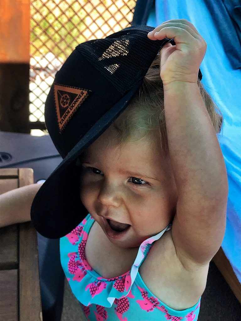 Baby Haddie happy at the pool at Grey's Crossing.