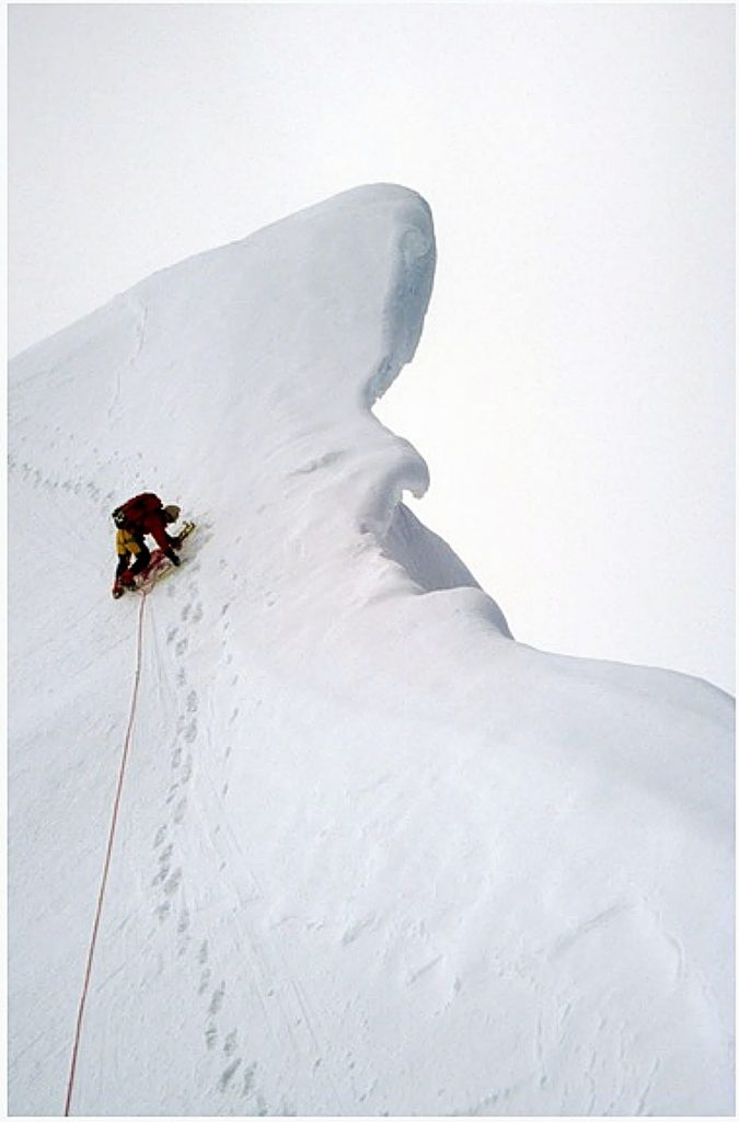 """Geoff Creighton photographed by Dave Nettle on an expedition into the Kichatna Spires. During his kick-off show """"Sheltering in Place,"""" Dave Nettle will blend challenge and adventure into classic stories and images about a couple of climbing trips to Alaska on Moose's Tooth and Mount Huntington and an expedition into the Kichatna Spires."""