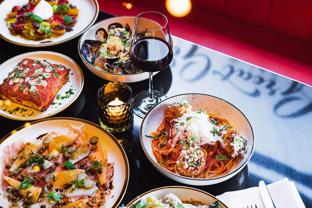 Highlights of the menu are pasta made in house daily and dishes like Cavetelli cauliflower cacio e pepe, hand cut pappardelle with prosciutto Bolognese, a seven-layer lasagna with smoked brisket ragu.