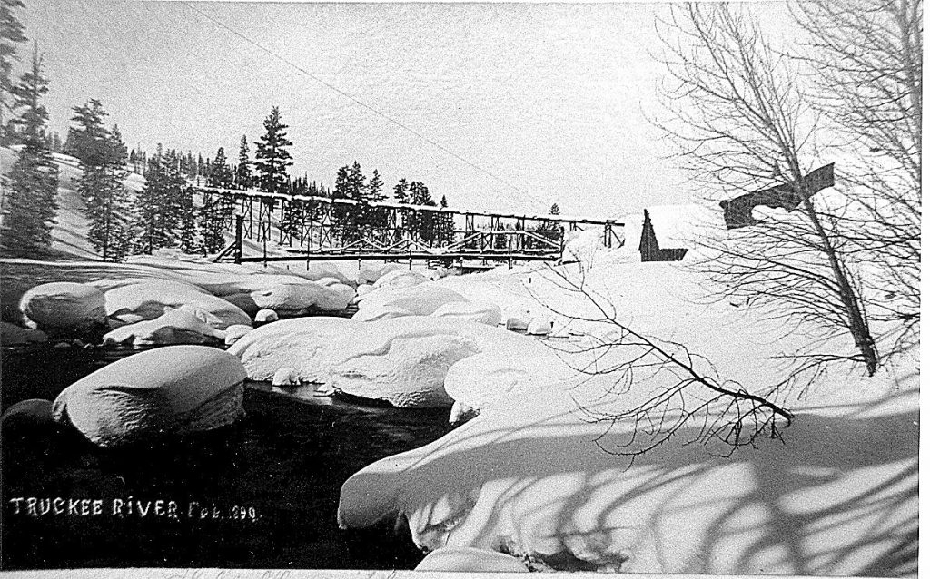 The Schaffer flume over the Truckee River in February 1890.