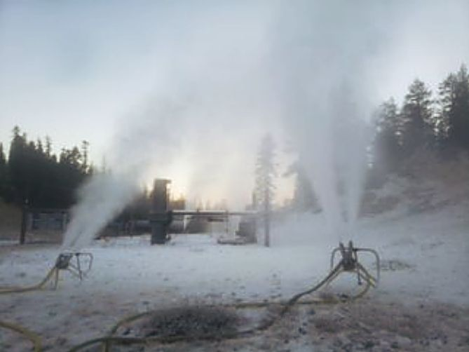 Snowmaking at Heavenly Mountain Resort.